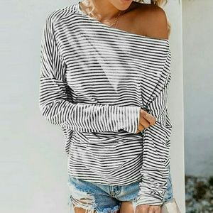 Tops - Vertical striped knit top - HEATHER GRAY